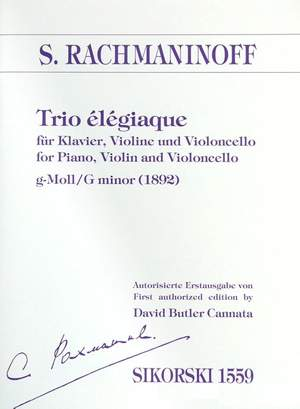 Sergei Rachmaninoff: Trio élégiaque No. 1 In G Minor