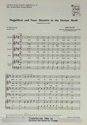 Blow: Magnificat and Nunc Dimittis in the Dorian Mode
