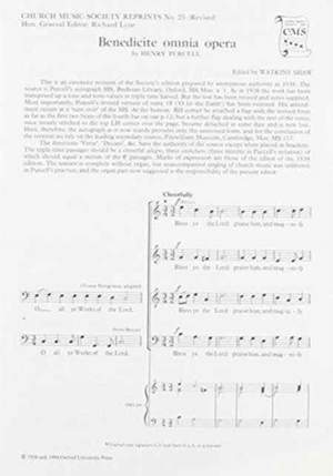 Purcell: Benedicite omnia opera