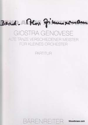Zimmermann, B: Giostra Genovese. Old dances by various Masters (1962)