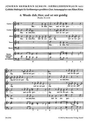Schein, J: Israelsbruennlein (26 Motets) No. 6: Wende dich, Herr (G)