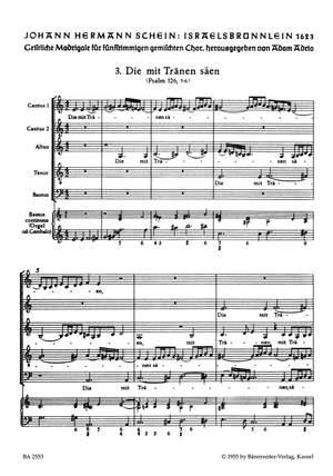 Schein, J: Israelsbruennlein (26 Motets) No. 3: Die mit Traenen saeen (G)