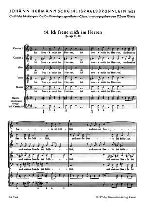 Schein, J: Israelsbruennlein (26 Motets) No.14: Ich freue mich im Herren (G)