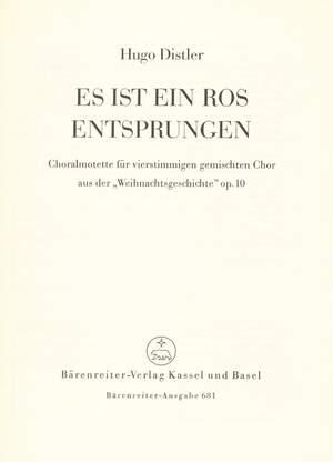 Distler, H: Es ist ein Ros entsprungen (from Christmas Story, Op.10) (G)