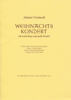 Vierdanck, J: Ich verkuendige euch grosse Freude (Christmas Concerto) Product Image