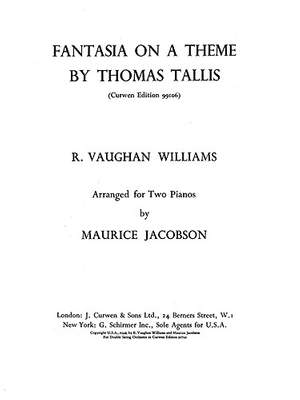 Ralph Vaughan Williams Fantasia On A Theme By Thomas Tallis Presto Sheet Music