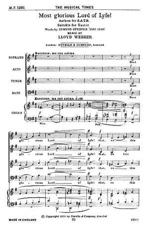 William Lloyd Webber: Most Glorious Lord Of Lyfe!