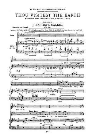 John Baptiste Calkin: Thou Visitest The Earth