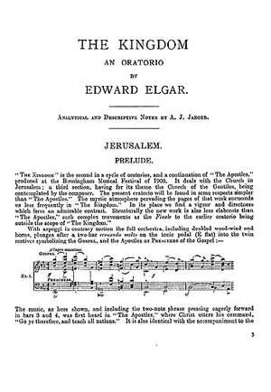 Edward Elgar: The Kingdom - Analytical And Descriptive Notes