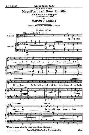 Clifford Harker: Magnificat And Nunc Dimittis In D