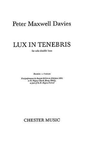Peter Maxwell Davies: Lux In Tenebris