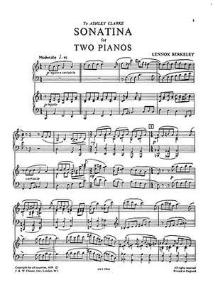 Lennox Berkeley: Sonatina For Two Pianos Op.52 No.2