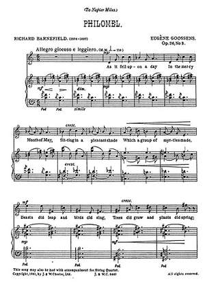 Eugene Goossens: Philomel from 'Three Songs Op.26'
