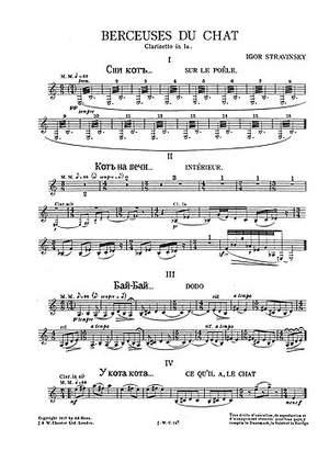 Igor Stravinsky: Berceuses Du Chat (Clarinet Parts)