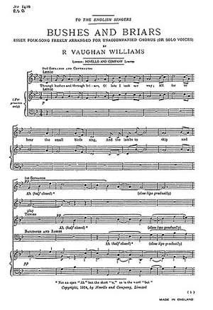 Ralph Vaughan Williams: Bushes And Briars (SATB)