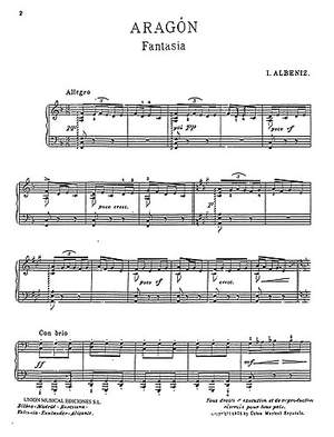 Isaac Albéniz: Aragon Fantasia For Piano Four Hands
