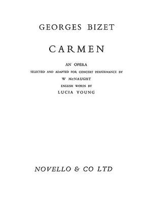 Georges Bizet: Carmen (Vocal Score- Abridged Concert Version)