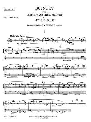 Arthur Bliss: Quintet For Clarinet And Strings (Parts)