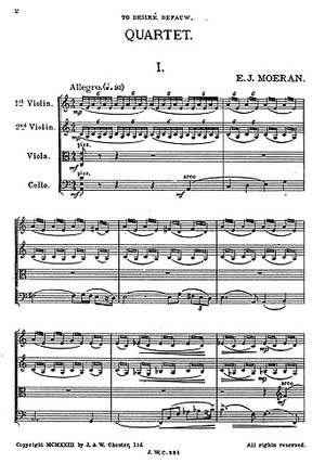 E.J Morean: String Quartet In A Minor
