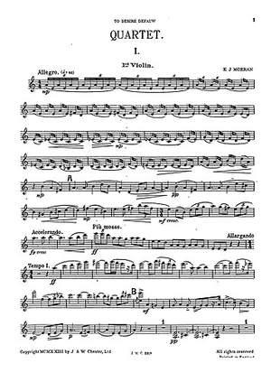 E.J Morean: String Quartet In A Minor (Parts)