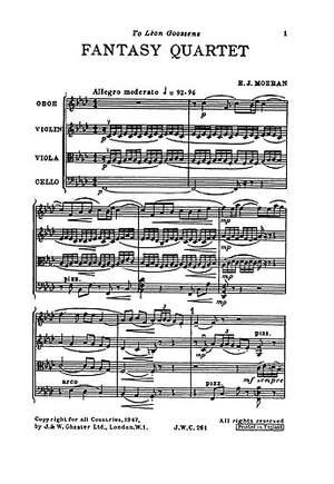 E.J. Moeran: Fantasy Quartet (Miniature Score)