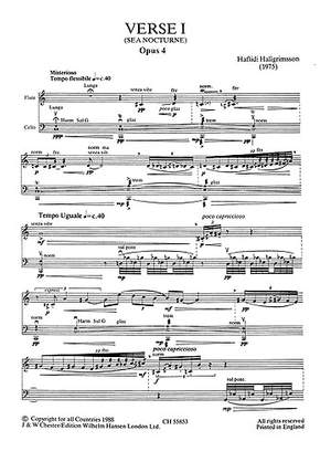 Haflidi Hallgrímsson: Verse 1 for Flute and Cello