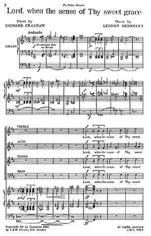 Lennox Berkeley: Lord, When The Sense Of Thy Sweet Grace Op.21 No.1