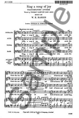 Sir William Henry Harris: Sing A Song Of Joy