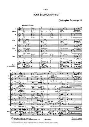 Christopher Brown: Hodie Salvator Apparuit for SATB Chorus With Soli
