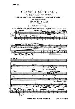 Edward Elgar: Spanish Serenade Op.23 (SATB)