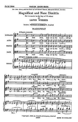 William Lloyd Webber: Magnificat and Nunc Dimittis In E Minor