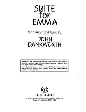 John Dankworth: Suite For Emma for Clarinet and Piano