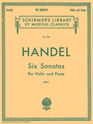 Georg Friedrich Händel: Six Sonatas For Violin And Piano