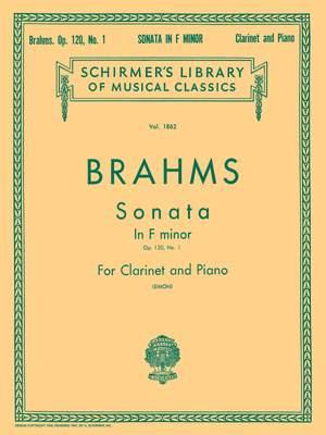 Johannes Brahms: Sonata For Clarinet & Piano In F Minor