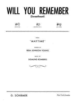 Sigmund Romberg: Will You Remember