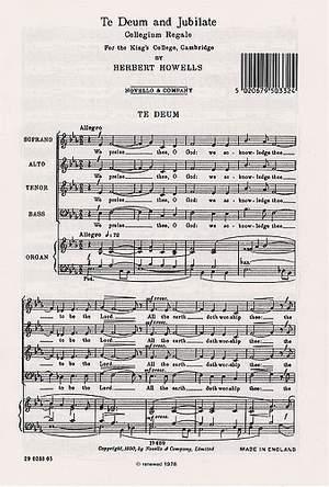 Herbert Howells: Te Deum And Jubilate (Collegium Regale)