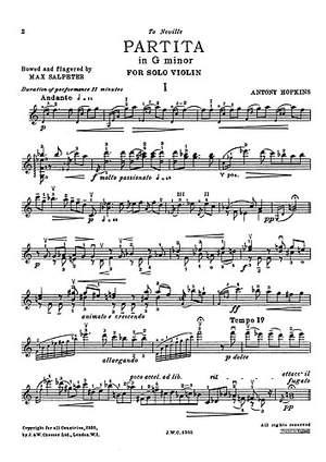 Antony Hopkins: Partita In G Minor Solo Violin