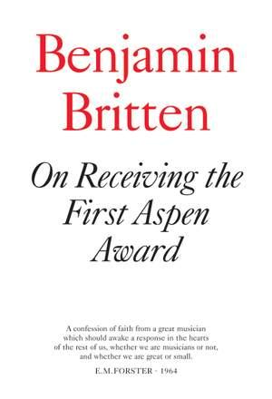 Britten, Benjamin: On Receiving the Aspen Award (booklet)