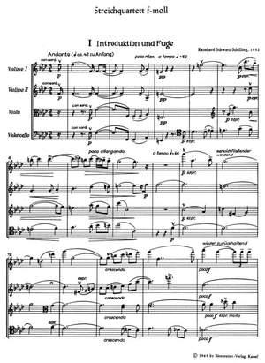 Schwarz-Schilling, R: String Quartet in F minor (1932)