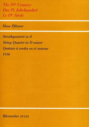 Pfitzner, H: String Quartet in D minor (1886)