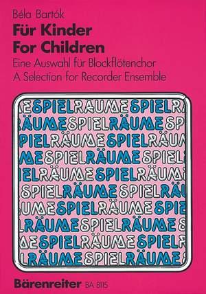 Bartok, B: For Children. Recorder Ensemble