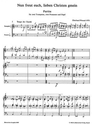 Wenzel, Eberhard: Nun freut euch Brass & Org Full Score
