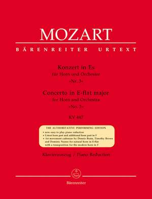 Mozart, WA: Concerto for Horn No.3 in E-flat (K.447) (Urtext)