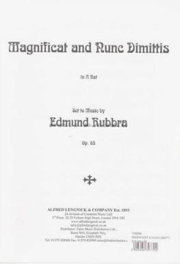 Edmund Rubbra: Magnificat and nunc dimittis Opus 65