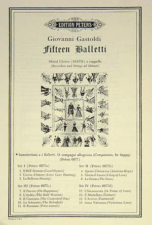 Gastoldi, G: 15 Balletti/Italian Madrigals: Introduction