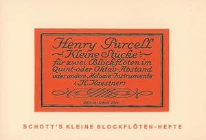 Purcell, H: Short Duets for Descant and Treble Recorders