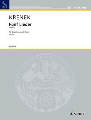Krenek, E: 5 Lieder nach Kafka op. 82 Product Image