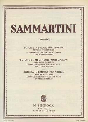 Sammartini, G: Sonata in E Minor