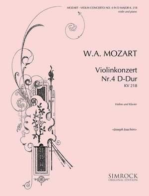 Mozart, W A: Violin Concerto No. 4 D Major K 218