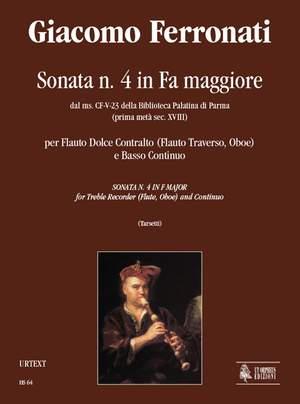 Ferronati, G: Sonata No. 4 in F maj from the ms. CF-V-23 of the Biblioteca Palatina in Parma (early 18th century)